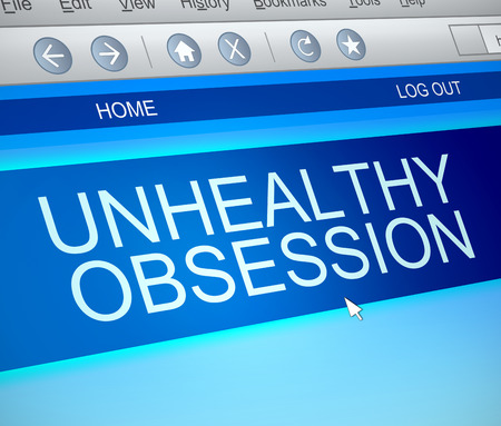 Illustration depicting a computer screen capture with an unhealthy obsession concept. Stock Photo