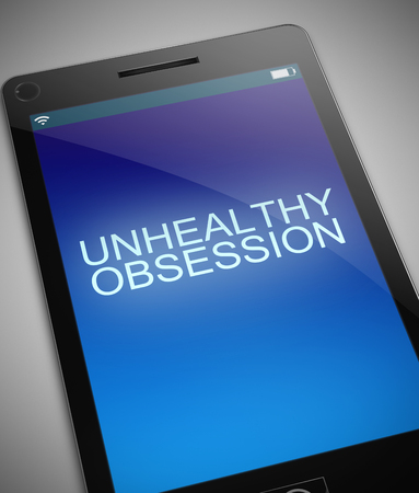 delusion: Illustration depicting a phone with an unhealthy obsession concept. Stock Photo