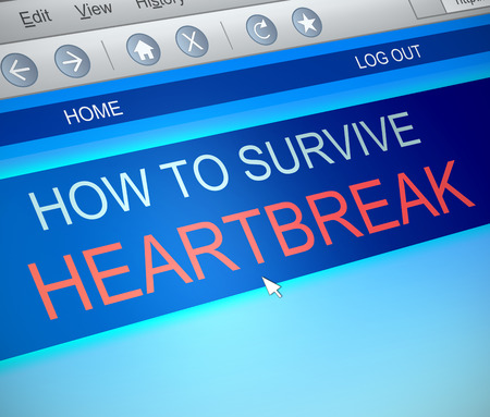 anguish: Illustration depicting a computer screen capture with a surviving heartbreak concept. Stock Photo