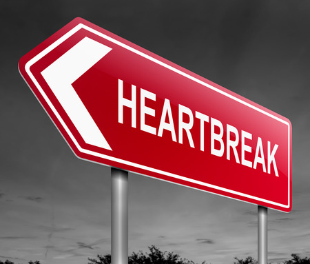 despondency: Illustration depicting a sign with a heatbreak concept.