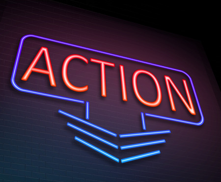 illuminated: Illustration depicting an illuminated neon sign with an action concept.