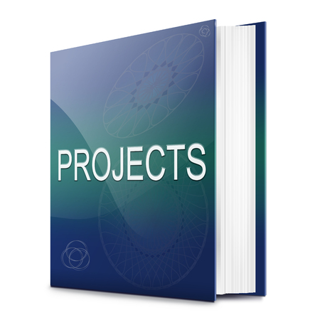 undertaking: Illustration depicting a text book with a projects concept title. White background.