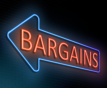 reduced value: Illustration depicting an illuminated neon sign with a bargains concept. Stock Photo