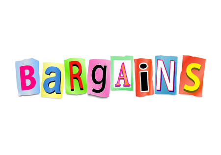 bargains: Illustration depicting a set of cut out printed letters arranged to form the word bargains.