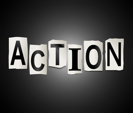 undertaking: Illustration depicting a set of cut out printed letters arranged to form the word action.
