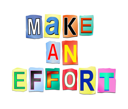 exerting: Illustration depicting a set of printed cut out letters arranged to form the words make an effort. Stock Photo