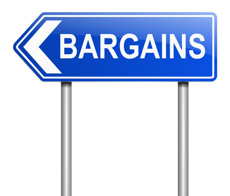 bargains: Illustration depicting a sign with a bargains concept.