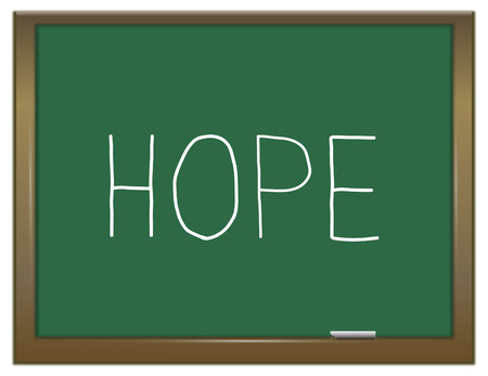 anticipation: Illustration depicting a green chalkboard with a hope concept.