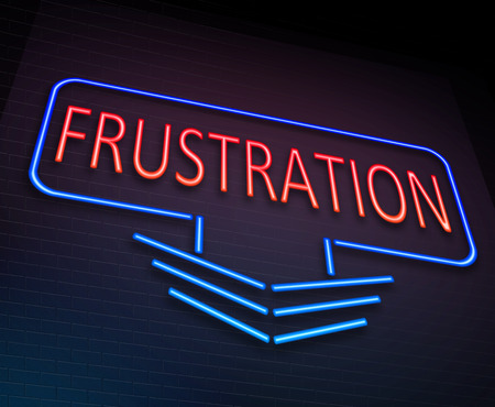 exasperation: Illustration depicting an illuminated neon sign with a frustration concept. Stock Photo