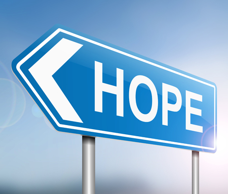 hopeful: Illustration depicting a sign with a hope concept. Stock Photo