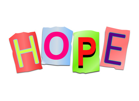hope: Illustration depicting a set of cut out printed letters arranged to form the word hope.