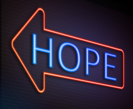 anticipation: Illustration depicting an illuminated neon sign with a hope concept.