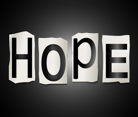 hopeful: Illustration depicting a set of cut out printed letters arranged to form the word hope.