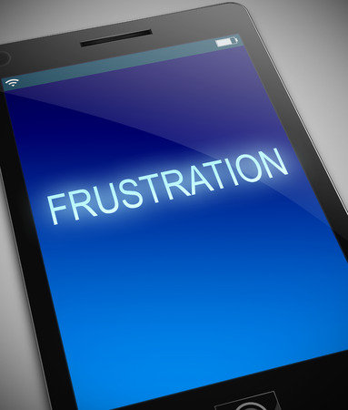 setback: Illustration depicting a phone with a frustration concept. Stock Photo