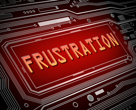 frustration: Abstract style illustration depicting printed circuit board components with a frustration. Stock Photo
