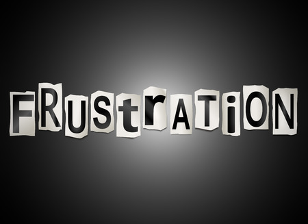 frustration: Illustration depicting a set of cut out printed letters arranged to form the word frustration.