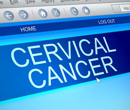 cervical: Illustration depicting a computer screen capture with a cervical cancer concept.