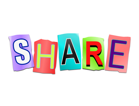 stake: Illustration depicting a set of cut out printed letters arranged to form the word share. Stock Photo