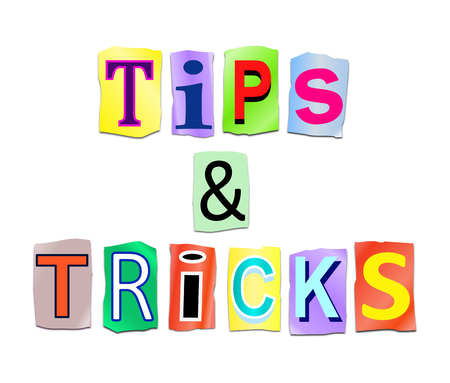 'cut out': Illustration depicting a set of cut out printed letters arranged to form the words tips and tricks. Stock Photo