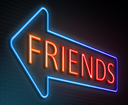 pal: Illustration depicting an illuminated neon sign with a friends concept.