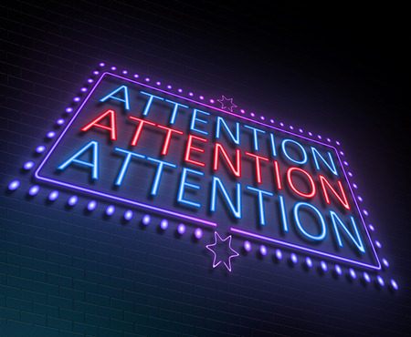 deliberation: Illustration depicting an illuminated neon sign with an attention concept. Stock Photo