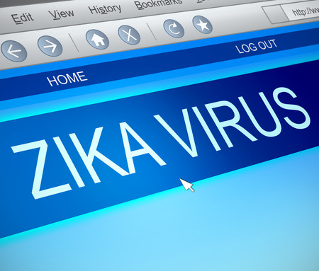 infectious: Illustration depicting a computer screen capture with a zika virus concept.