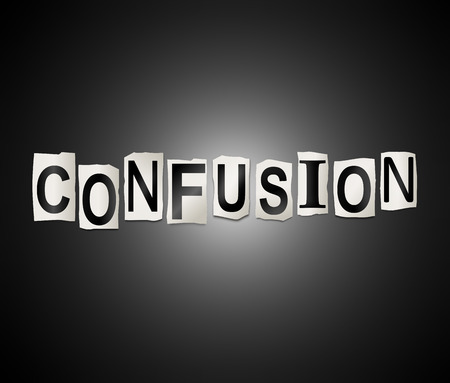disorientated: Illustration depicting a set of cut out printed letters arranged to form the word confusion.