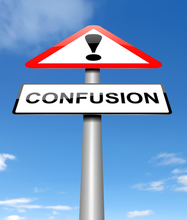 misunderstanding: Illustration depicting a sign with a confusion concept. Stock Photo