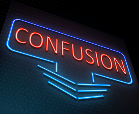commotion: Illustration depicting an illuminated neon sign with a confusion concept.
