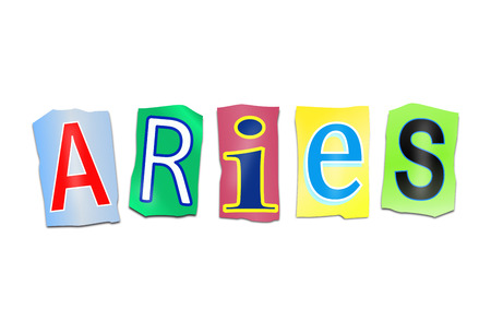 predict: Illustration depicting a set of cut out printed letters arranged to form the word Aries.