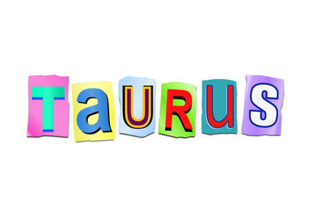 predicting: Illustration depicting a set of cut out printed letters arranged to form the word taurus. Stock Photo
