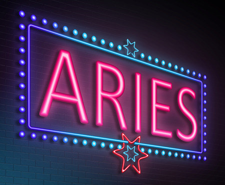 predicting: Illustration depicting an illuminated neon sign with an aries concept. Stock Photo
