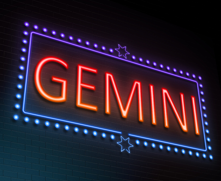 blue signage: Illustration depicting an illuminated neon sign with a gemini concept. Stock Photo