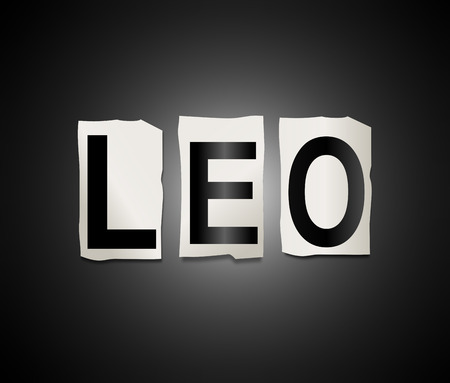 predicting: Illustration depicting a set of cut out printed letters arranged to form the word leo. Stock Photo