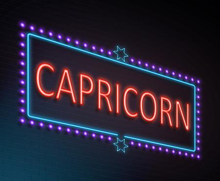 illuminated: Illustration depicting an illuminated neon sign with a capricorn concept. Stock Photo