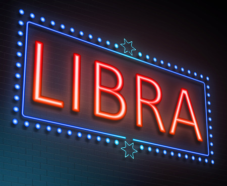 predicting: Illustration depicting an illuminated neon sign with a Libra concept. Stock Photo