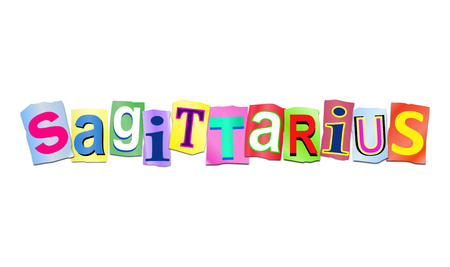 predicting: Illustration depicting a set of cut out printed letters arranged to form the word sagittarius.