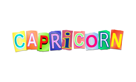 prediction: Illustration depicting a set of cut out printed letters arranged to form the word capricorn.