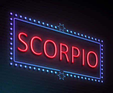 blue signage: Illustration depicting an illuminated neon sign with a scorpio concept.