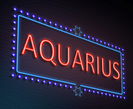illuminated: Illustration depicting an illuminated neon sign with an aquarius concept.