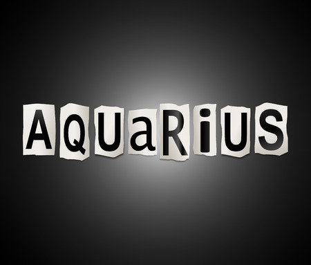aquarius star: Illustration depicting a set of cut out printed letters arranged to form the word aquarius. Stock Photo