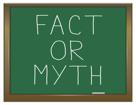 myth: Illustration depicting a green chalkboard with a fact or myth concept.