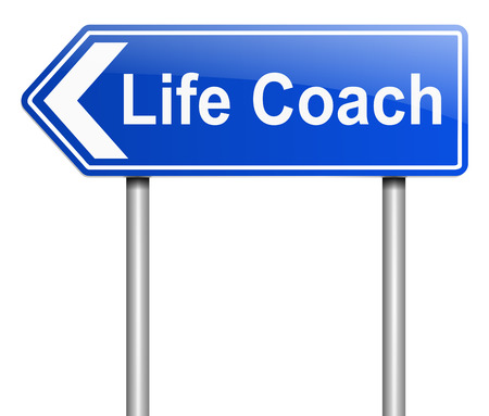 career coach: Illustration depicting a sign with a life coach concept.
