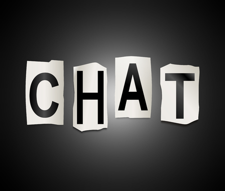 Chatter: Illustration depicting a set of cut out printed letters arranged to form the word chat.