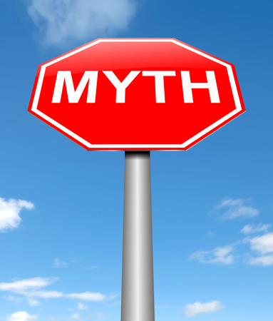 myth: Illustration depicting a sign with a myth concept.