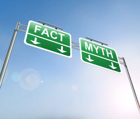 Illustration depicting a sign with a fact or myth concept. Stock Photo