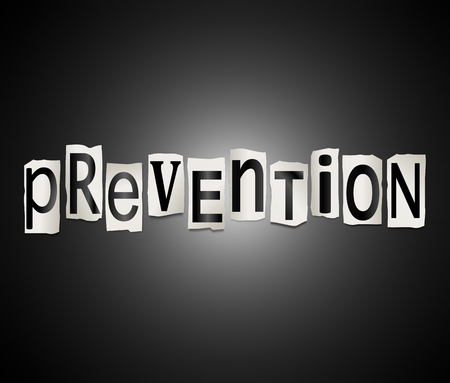interruption: Illustration depicting a set of cut out printed letters arranged to form the word prevention. Stock Photo
