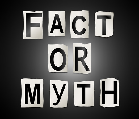 myth: Illustration depicting a set of cut out printed letters arranged to form the words fact or myth.