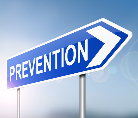 deter: Illustration depicting a sign with a prevention concept.