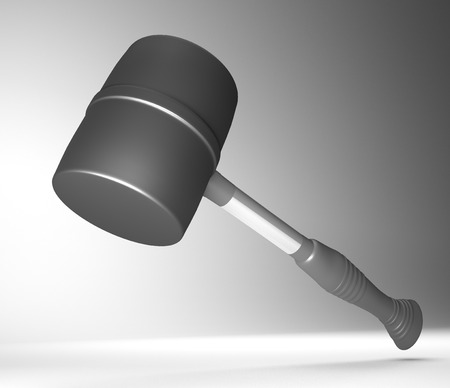 implementing: 3d illustration depicting a black and chrome mallet tool.